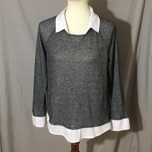 Tops - Gray collared blouse